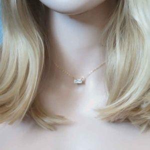 Handmade Jewelry - Gold Rectangle Cubic Zirconia Pendant Necklace